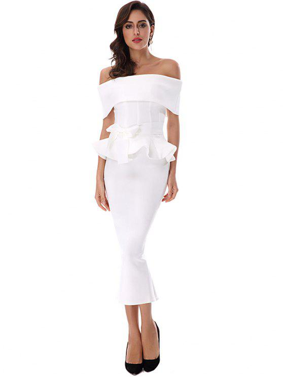 women Ruffles Belted Top and Slit Skirt Set - WHITE M