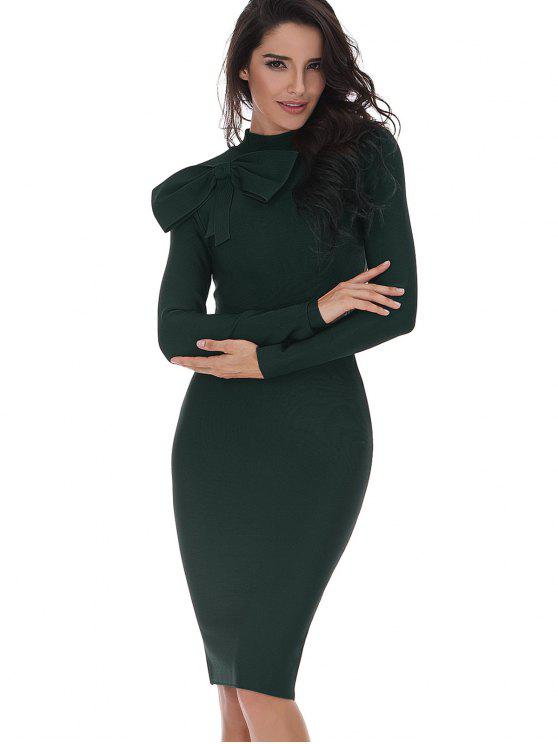 womens Bowknot Embellished Long Sleeve Fitted Dress - BLACKISH GREEN L