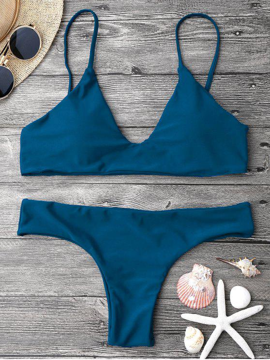 women Adjustable Straps Padded Bralette Bikini Set - BLUE M