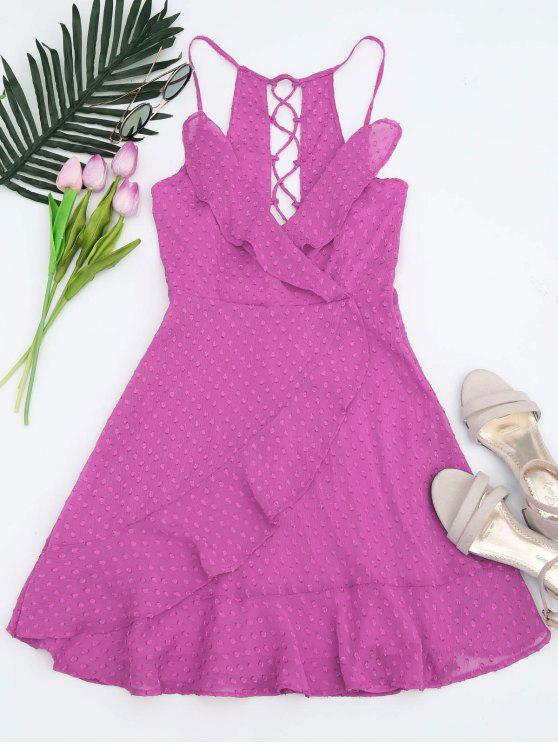 lady Ruffles Lace Up Mini Dress - PURPLE L