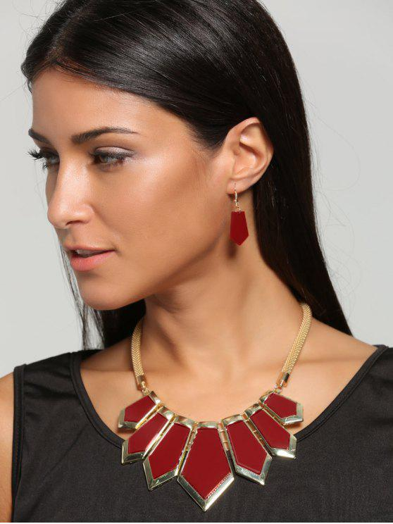 shop Plated Geometrical Statement Necklace and Drop Earrings - RED