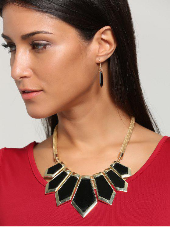 Collar con forma geométrica plateada y pendientes de gota - Negro