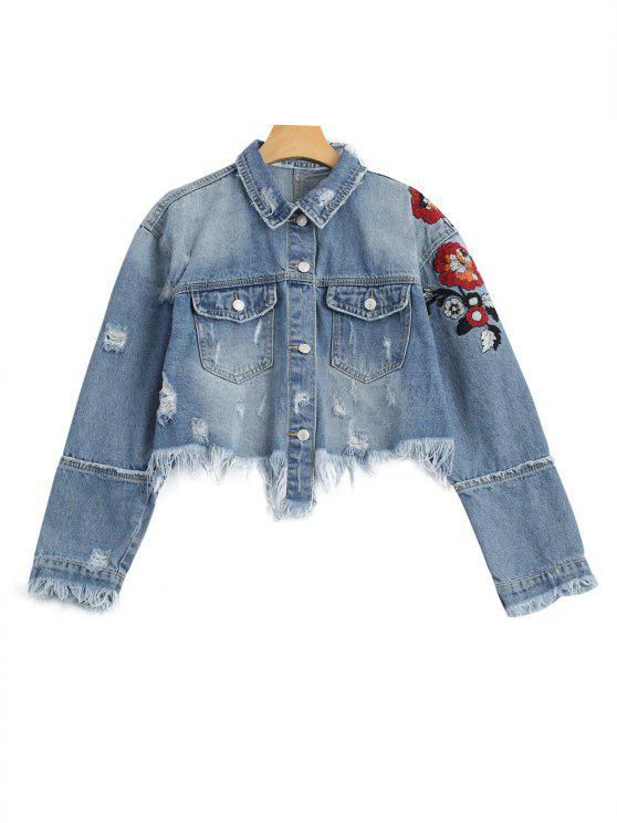 trendy Ripped Cutoffs Floral Embroidered Denim Jacket - DENIM BLUE M