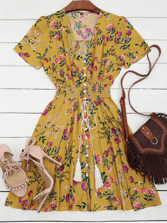 ladies Smocked Floral Button Up A Line Dress - YELLOW S