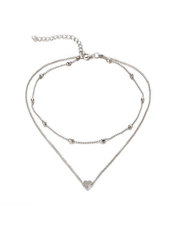 Collar de capas de collar de corazón - Plata