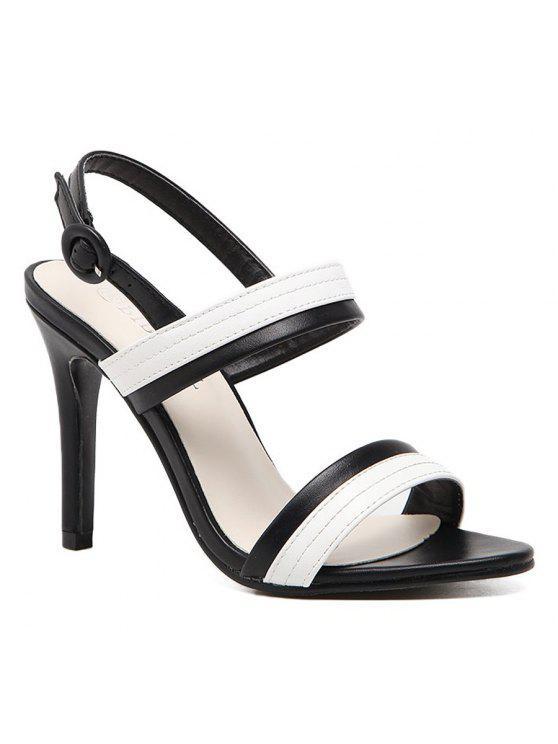 Sandalias de tacón de aguja de dos tonos - Blanco y Negro 37