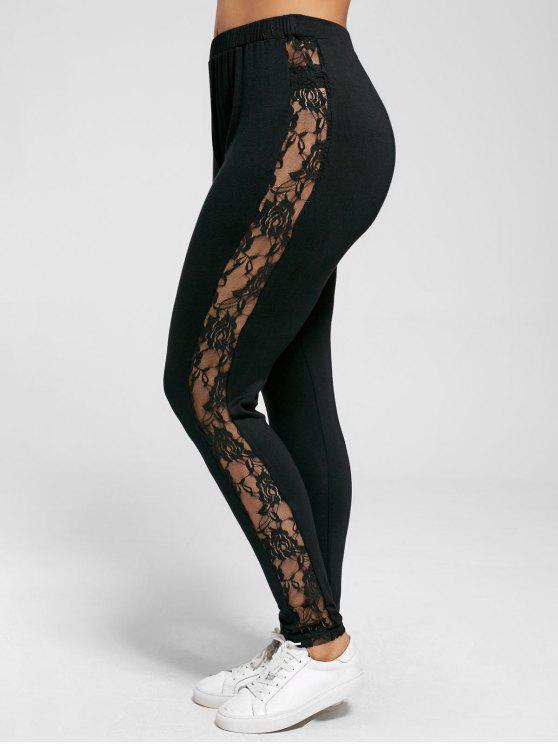 Übergröße  Sheer Leggings mit Spitzeeinsatz - Schwarz 5XL