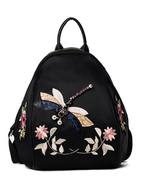 chic Dragonfly and Flower Patches Backapck - BLACK