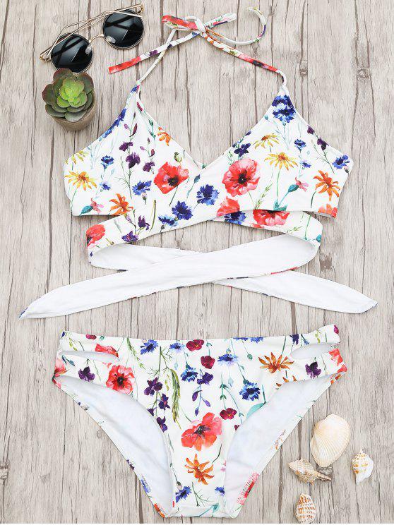 ladies Cut Out Tiny Floral Wrap Bikini - WHITE S