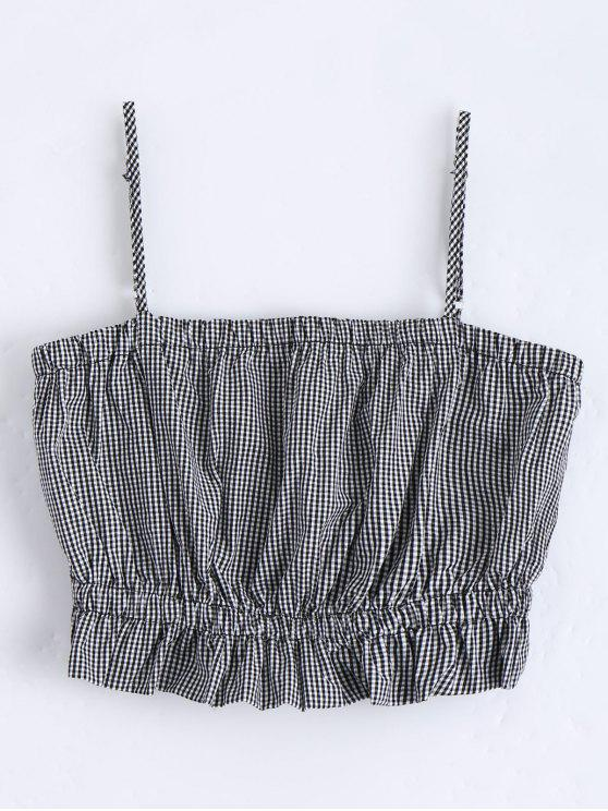 trendy Cami Ruffles Cropped Tank Top - CHECKED M