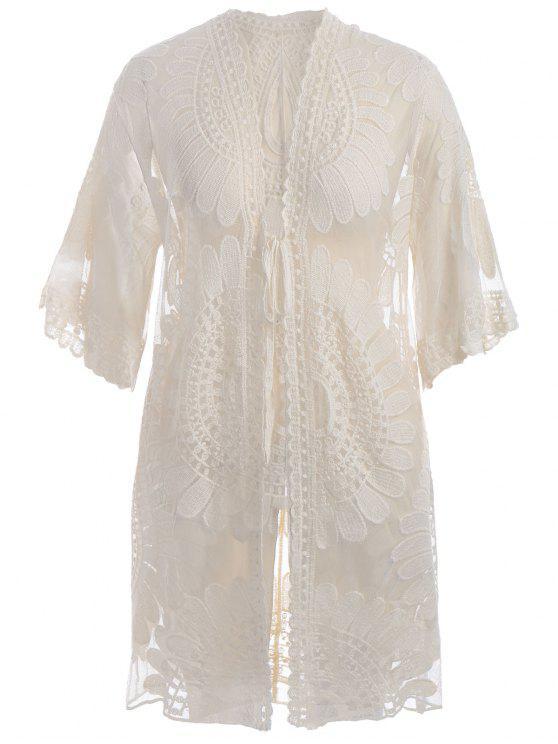 Übergröße Kimono Verdeckung Kleid mit Selbstbindung - Beige (Weis) 2XL