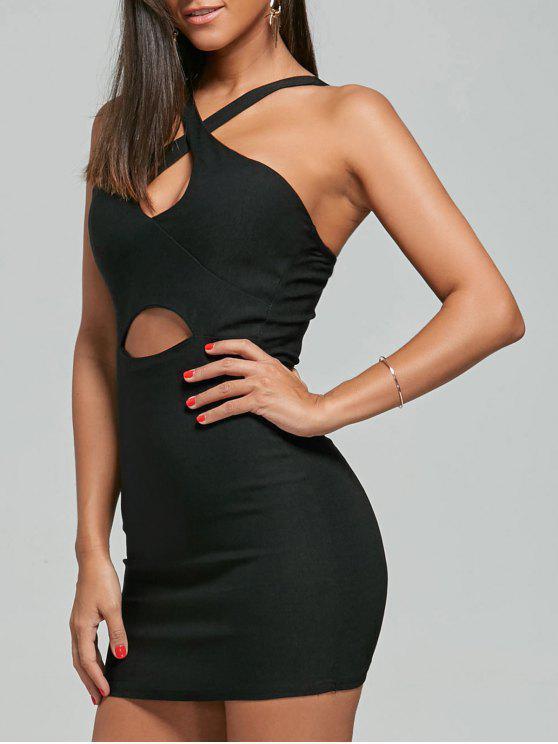 فستان النادي ضيق ذو فتحات - أسود حجم واحد