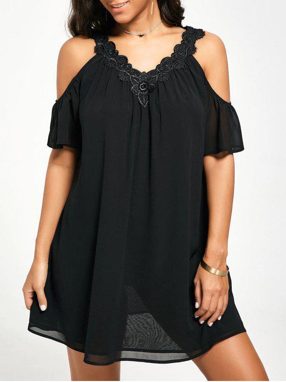 فستان باردة الكتف مصغر شيفون - أسود XL