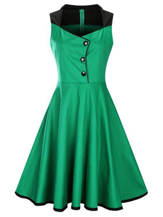 2018 A Line Sleeveless Vintage Plus Size Dress In GREEN 3XL | ZAFUL