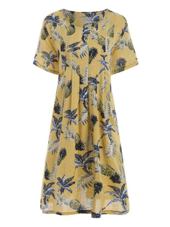 7af0a9a293e fashion Plus Size Pineapple Printed Casual Dress with Pockets - YELLOW ONE  SIZE