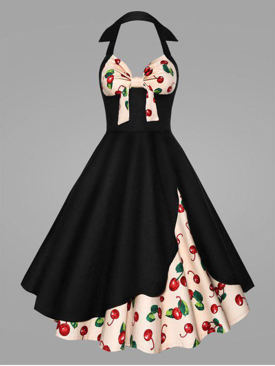 Plus Size Halter Cherry Print Pin Up Dress BLACK