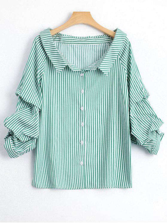 Puff Sleeve Single Breasted Striped Shirt - Stripe M