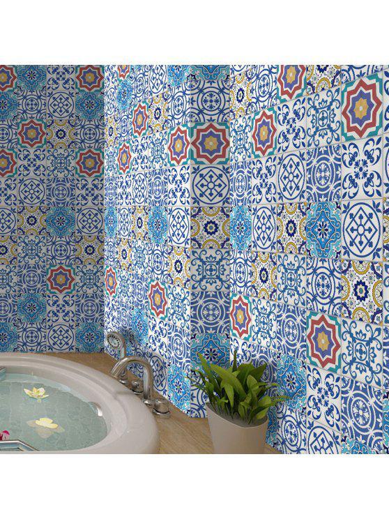 البوهيمي الزهور الفينيل الجدار ملصق - أزرق فاتح