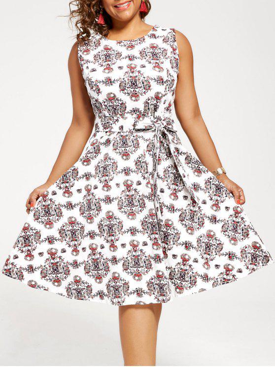 5703058e4e20 29% OFF] 2019 Vintage Plus Size Tribal Print Dress In WHITE   ZAFUL