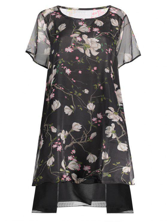 womens Chiffon Peacock Print Plus Size Layered Dress - BLACK XL