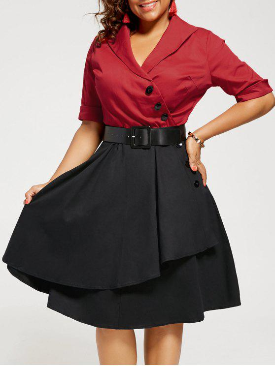 Two Tone A Line Plus Size Vintage Dress