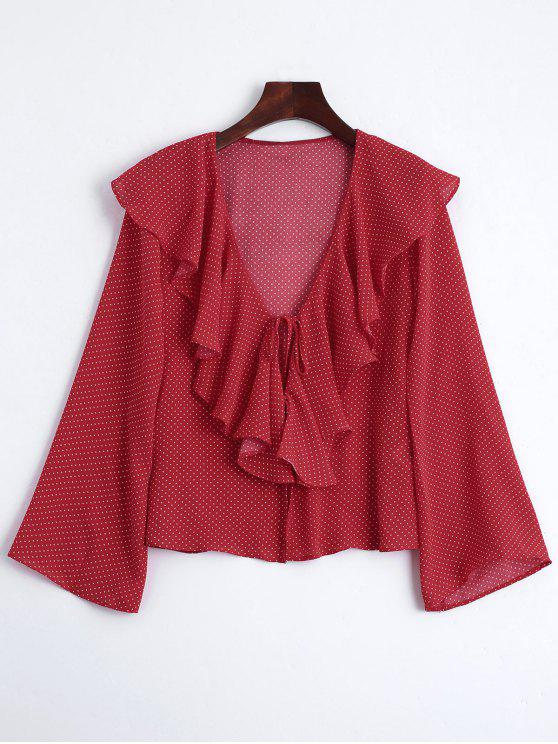 sale Front Tie Polka Dot Ruffles Blouse - RED M