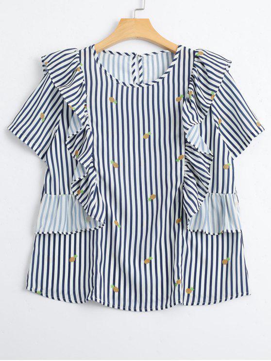 Stripes Ruffles Pineapple Top - Raya S