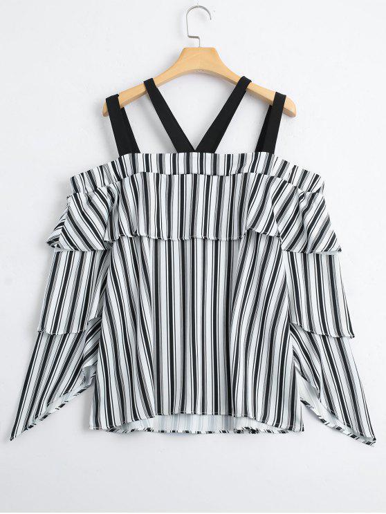 Blusa de hombro frío con rayas en capas - Raya M
