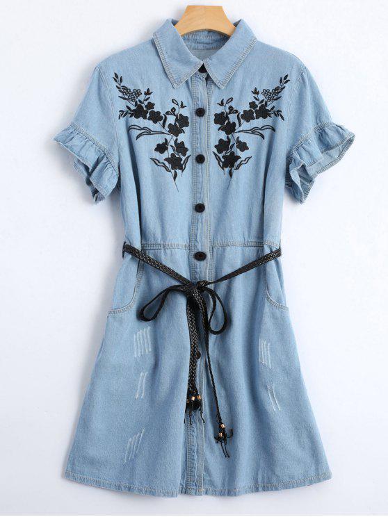 unique Floral Patched Ruffled Belted Denim Dress - LIGHT BLUE S