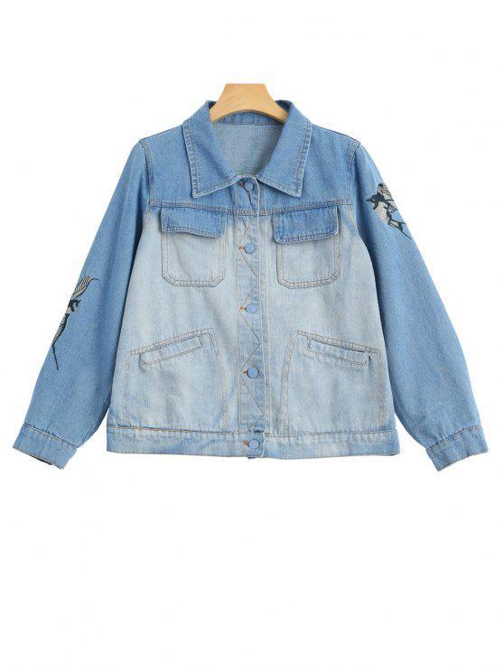 women Birds Embroidered Two Tone Denim Jacket - DENIM BLUE M