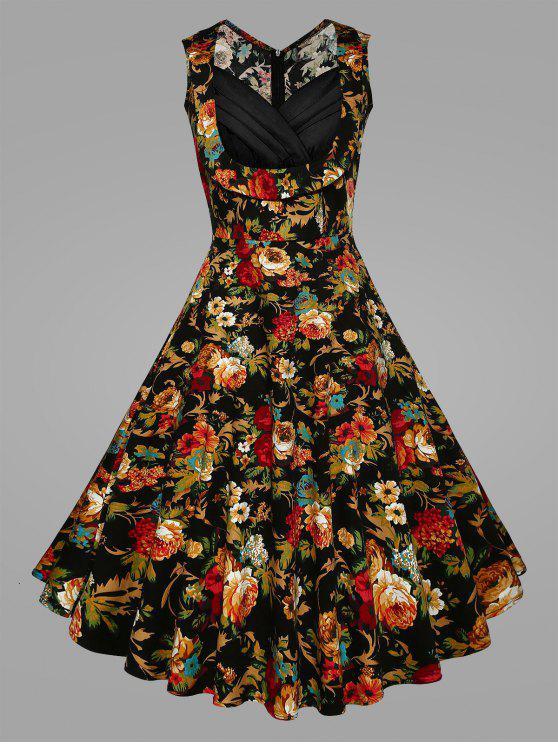Plus Size Pleated Floral Vintage Swing Dress