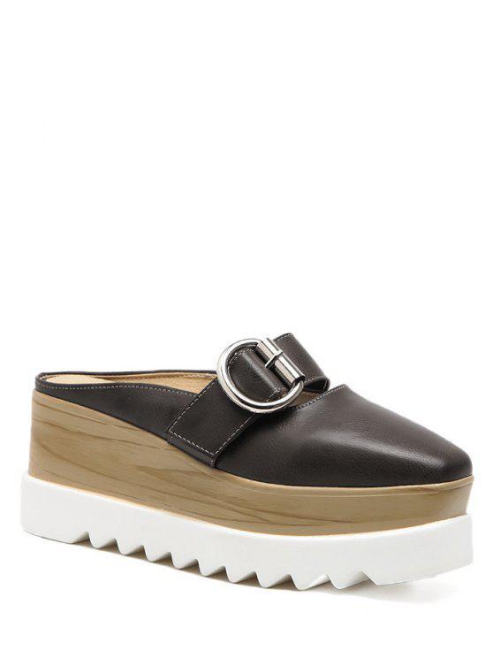 Zapatillas de plataforma con zócalo - Marrón Oscuro 37