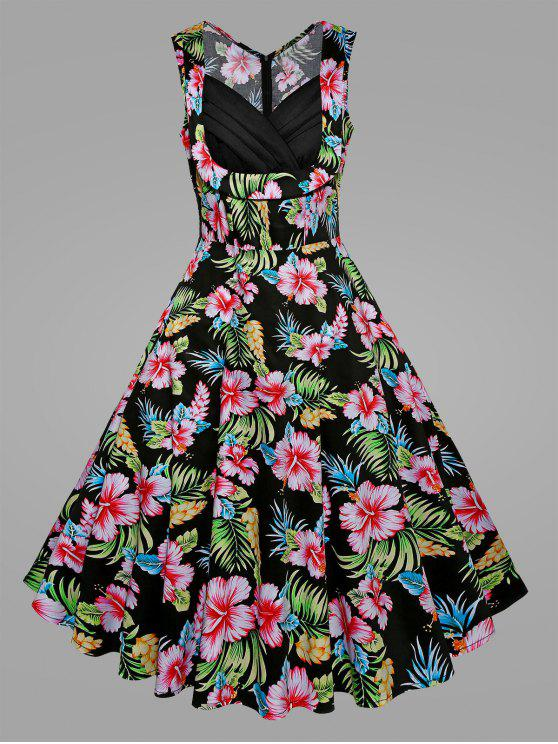 Plus Size Tropical Floral Midi Retro Dress PINK