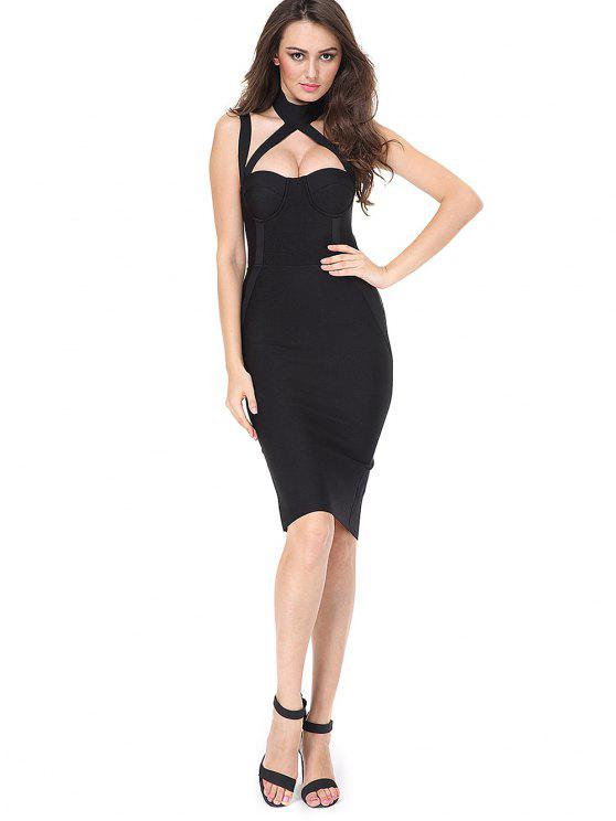 women Cut Out Back Slit Fitted Dress - BLACK S