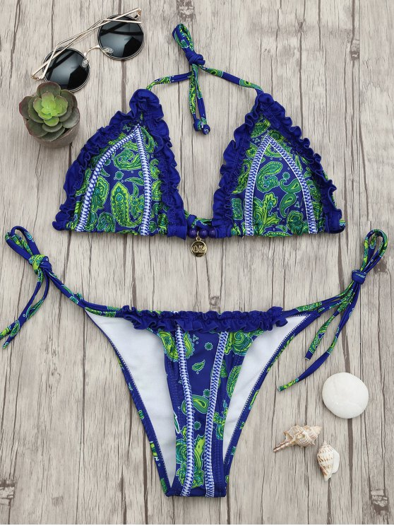 Bikini Stampato Paisley A Volant Con Stringhe - Blu L