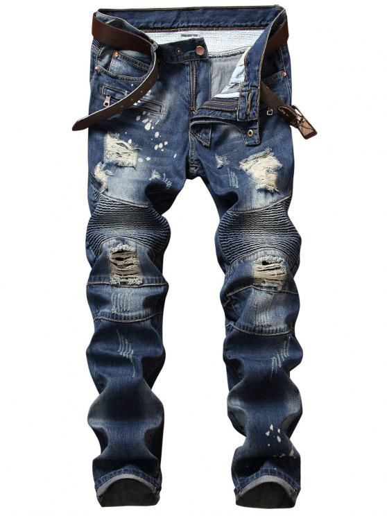 shop Zip Design Distressed Denim Pants - DENIM BLUE 42