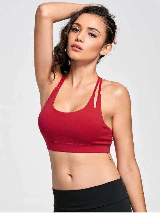 fancy Quick Dry Strappy Sports Bra - RED M