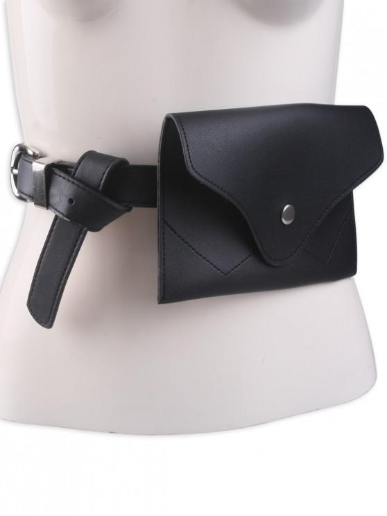buy Pin Buckle Faux Leather Waist Belt Bag - BLACK