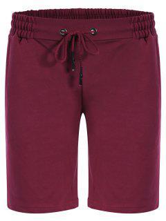 Side Pocket Drawstring Men Bermuda Shorts - Purplish Red M
