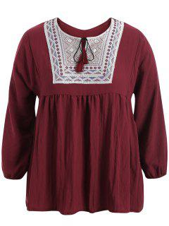 Plus Size Embroidered Long Sleeves Peasant Top - Wine Red 3xl