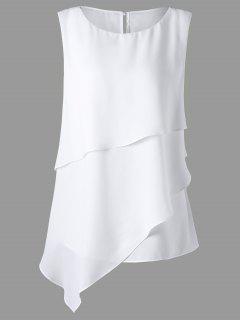 Plus Size Overlay Sleeveless Asymmetrical Top - White 5xl