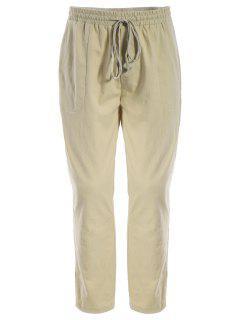 Mens Drawstring Joggers Pants - Khaki L