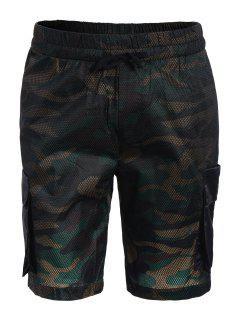 Camo Print Swim Cargo Board Shorts - Camouflage L