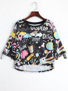 Cartoon Print Drop Shoulder Tee - Black