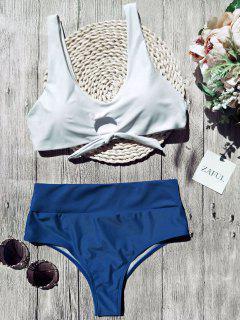 Scoop Color Block Tied Padded Bikini - White M