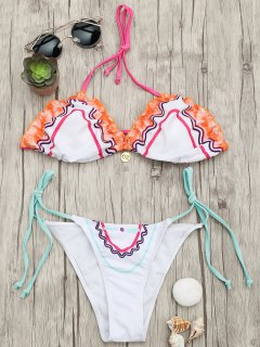 Adjustable Tie Padded String Bikini Set - White S