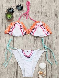 Einstellbare Krawatte Gepolsterte String Bikini Set - Weiß S