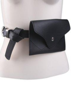 Pin Buckle Faux Leather Waist Belt Bag - Black
