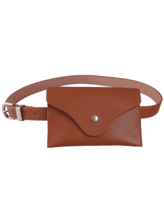 Pin Buckle Faux Leather Waist Belt Bag - Chocolate