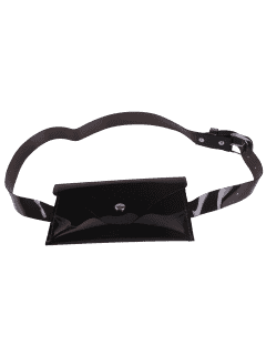 Jelly Color Portable Waist Belt Bag - Black